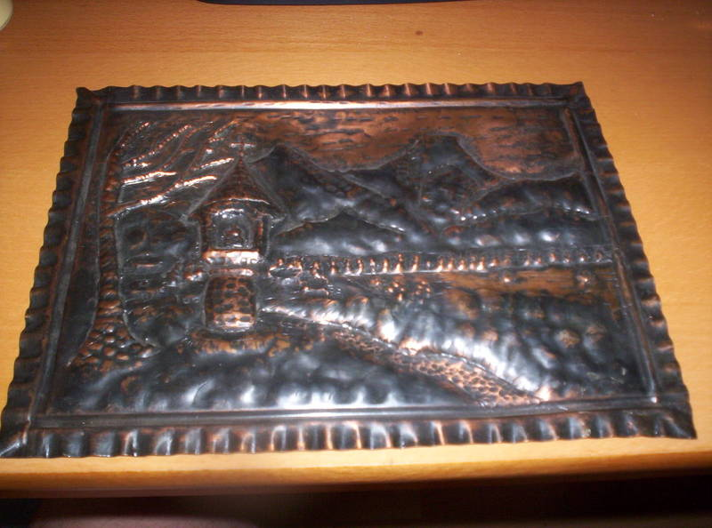 plastisches bild aus kupfer bronze antiquit ten. Black Bedroom Furniture Sets. Home Design Ideas