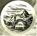 Wand-Teller aus Porzellan , mit Bild von Oberammergau , Durchmess