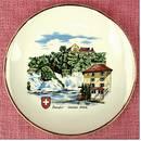 Wand-Teller aus Porzellan , Rheinfall Schlössli Wörth , Durchmess