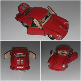 PORSCHE 356 B 1961 Rot 1/24 Modell Oldtimer BURAGO