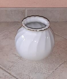 Apulum weiße Vase mit Goldrand Vintage Bauchvase