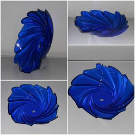 große Blauglas Glasschale Schüssel Platte blauer Teller arcoroc