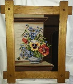 Stillleben Blumen, Gobelin Bild, echte Handarbeit