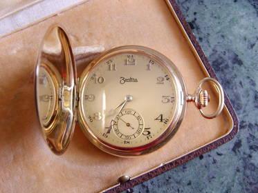 Alte Taschenuhr Savonette Gold 585, 14 K, 3 Deckel-Uhr