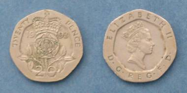20 Pence - Queen Elizabeth II - GB von 1993