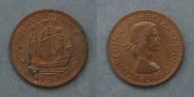 Half Penny - Queen Elizabeth II - GB von 1957