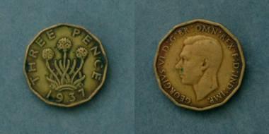 3 Pence - George VI - GB von 1937