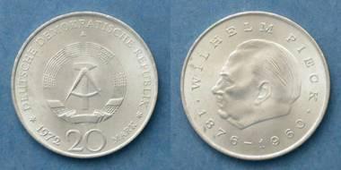 DDR 20 Mark-Münze - Wilhelm Pieck 1876-1960 von 1972