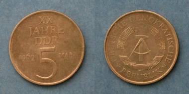 DDR 5 Mark-Münze - 20 Jahre DDR von 1969