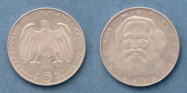 5 D-Mark - Karl Marx Gedenk-Münze J von 1983