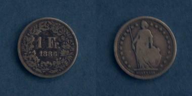 1 Franken Silbermünze - Schweiz von 1886