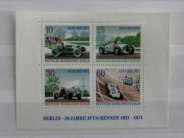 Berlin Briefmarkenblock 3 - 50 Jahre Avus-Rennen 1971