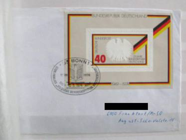 Briefmarkenblock 10 - 25 Jahre Bundesrepublik 1974(Ersttagsbrief)