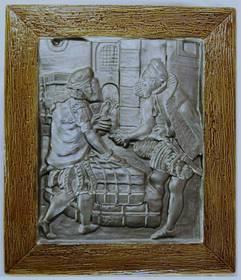 Ein lackiertes Kunststein-Bild - Motiv : Händler / Mittelalter -