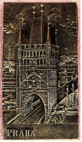 kleines Wandbild aus Kunstharz - Motiv Prag / Praha Turm