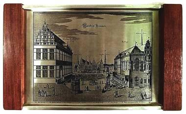Eduscho Tablett mit Bild 'Markt in Bremen' Edelstahl / Holz