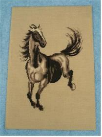 Gobelin Bild Pferd Motiv , auf Holzplatte ca. 33 x 49 cm - 1965