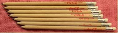 7 Coca-Cola Bleistifte - mit Radiergummi