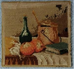 kleines Gobelinbild Stilleben - ca. 22 x 22 cm Größe
