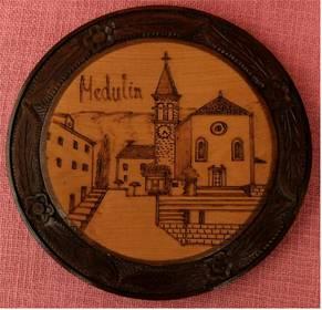 Wandteller aus Holz - Medulin / Kroatien - ca. 22 cm Durchmesser