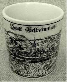 Porzellan-Becher mit altem Stadtmotiv von Kelheim