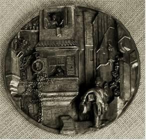 rundes Keramik-Wandbild mit Relieff - Motiv Postmann