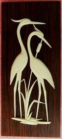 Wandbild mit 2 Störchen - Wohl aus den 1960er Jahren