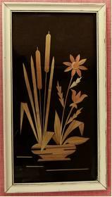 Wandbild mit Blumenmotiv aus Schilf - Handarbeit
