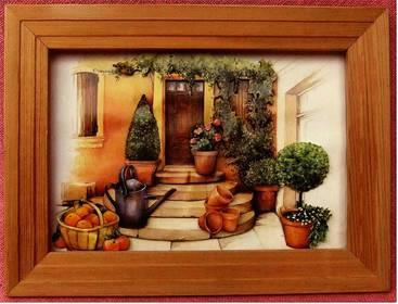 3D-Bild im Holzrahmen - Motiv Hauseingang - ca. 36 x 27 cm