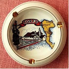 Aschenbecher aus Keramik - 24 K Gold - Mit Motiv Corfu