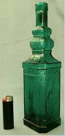 türkis-grüne eckige Flache aus Glas - Hand-Made in Spain