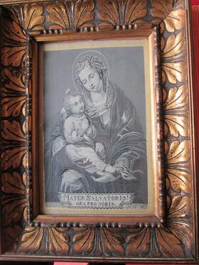 Antikes Webbild Seide ? Madonna mit Kind von 1894 hinter Glas