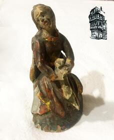 Kleine geschnitzte Holzfigur, Maria Magdalena (?), süddt.,