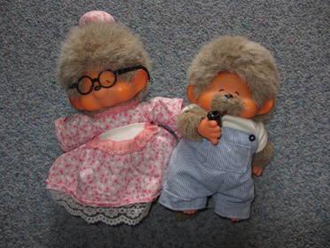 Monchichi-Paar Oma und Opa, aus den 70er oder 80er Jahren