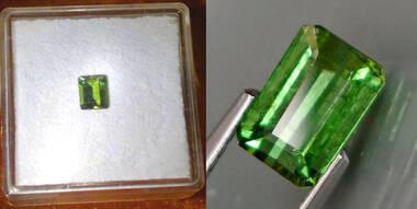Sehr schöner leuchtend grüner Turmalin im Oktagonschliff 0,45 ct.