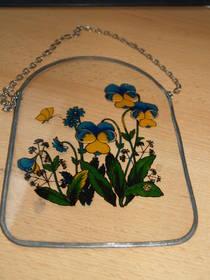 Hinterglasmalerei Blumen blau