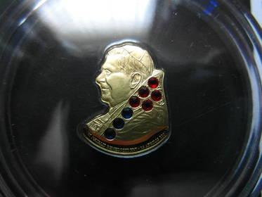 Goldmünze mit Swarovski, 80.Geburtstag v. Papst Benedikt XVI.