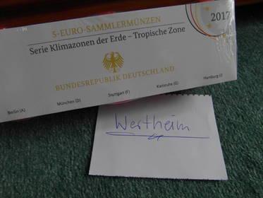 5 Euro Tropische Zone  Deutschland 2017 Spiegelglanz PP Komplett