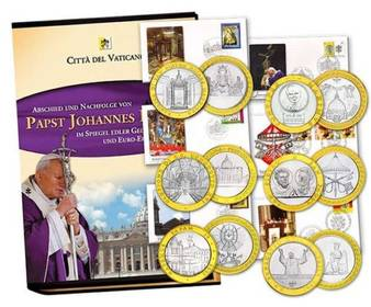 Papst Johannes Paul II - Faltalbum Münzen + Ersttagsbriefe