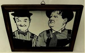 """Laurel und Hardy """"Dick und Doof"""" - Spiegelbild im Holzrahmen"""