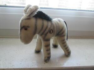 Kleines Grisly Zebra ca.15 cm hoch 60 iger Jahre